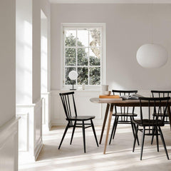 ercol Originals All Purpose Chairs in dining room with Plank Table