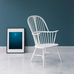 ercol Originals White Chairmakers Chair in Room with Teal Walls