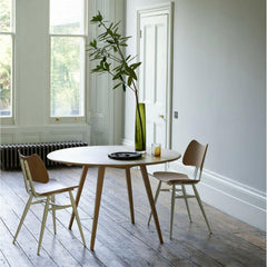 ercol originals dropleaf table in room with butterfly chairs