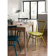 Ercol Romana Dining Table with Teal and Chartreuse All Purpose Chairs in Kitchen