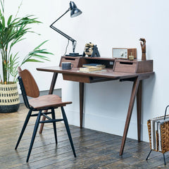 Ercol Treviso Desk by Matthew Hilton in situ with Butterfly Chair