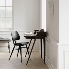ercol Treviso Desk by Matthew Hilton in Walnut with Black Butterfly Chair
