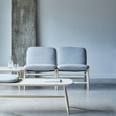 ercol Von Bench with Cushion Natural Ash Grey Wool in reception