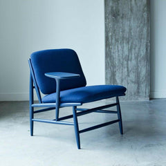 ercol Von Work Chair Right Arm in Indigo Blue in room