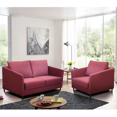 Erika Lounge Chair Sleeper with Loveseat Sleeper and Narvik Round Table by Luonto