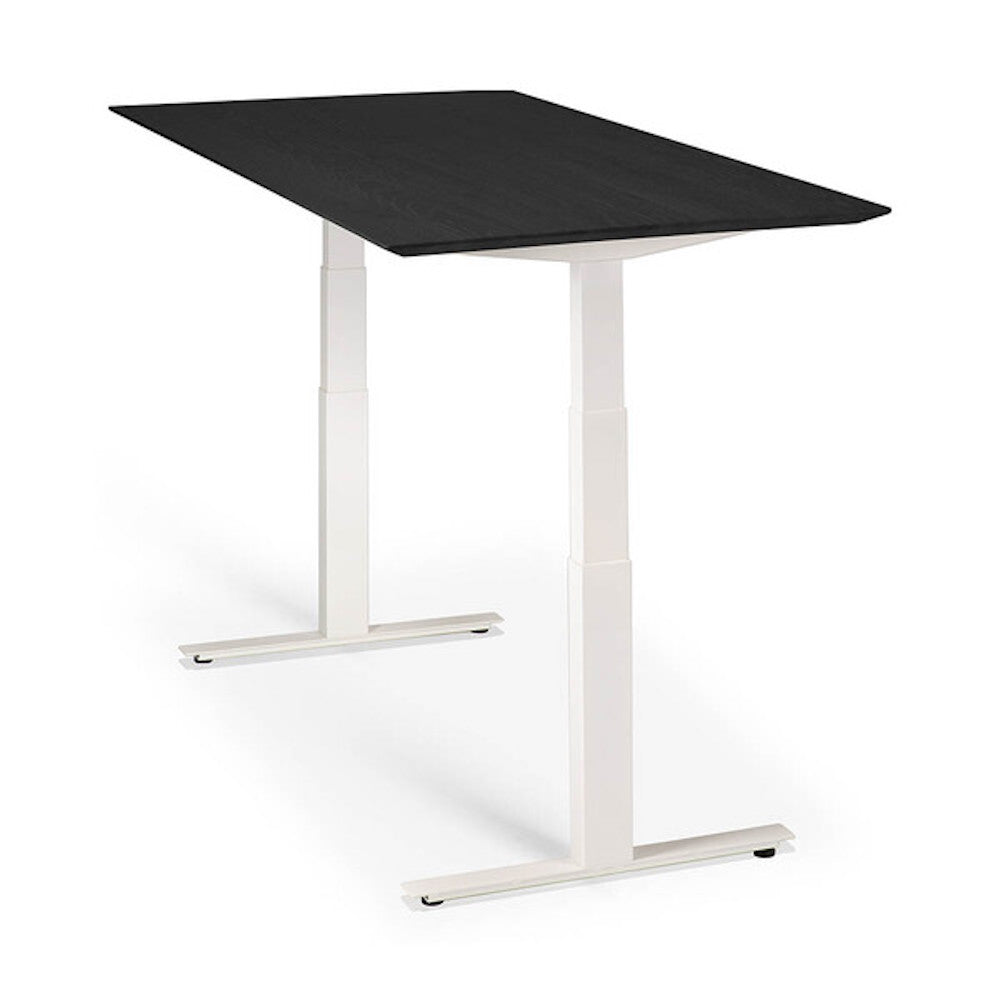 Ethnicraft Black Oak Bok Adjustable Desk with White Base