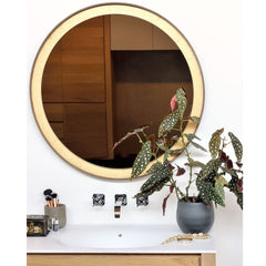 Ethnicraft Gold Leaf Wall Mirror in Bathroom