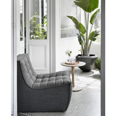 Ethnicraft N701 Sofa Chair Grey in room with Oak Twist Side Table