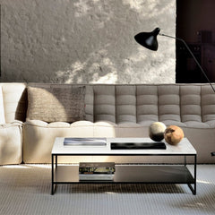 Ethnicraft N701 Sectional Sofa Beige in Living Room with Stone Coffee Table and Mantis Floor Lamp