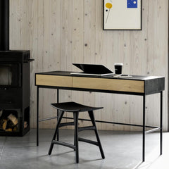 Ethnicraft Oak Blackbird Desk in room with Osso Stool