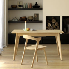 Ethnicraft Oak Bok Chair in room with Oak Osso Table Desk
