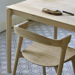 Ethnicraft Oak Bok Dining Chair Back and Oak Bok Table in Kitchen