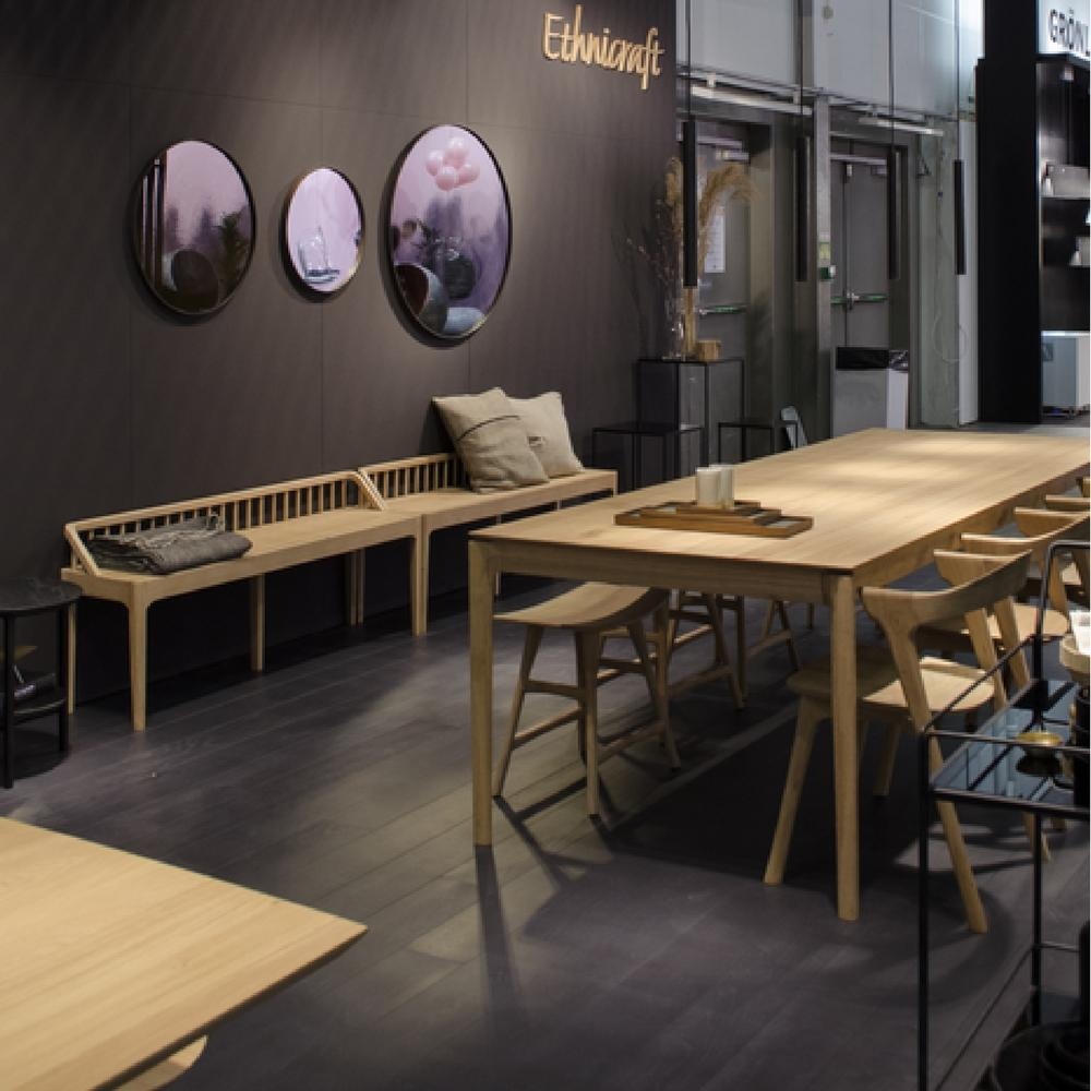 Ethnicraft Oak Bok Dining Table Extendable In Situ With Spindle Benches At Maison Objet Paris