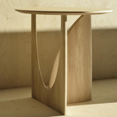Ethnicraft Oak Geometric Side Table Styled