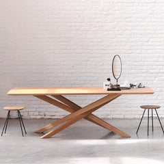 Ethnicraft Oak Mikado Table in Loft with Stools