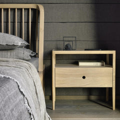 Ethnicraft Oak Spindle Bed in room with Spindle Bedside Table