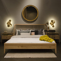Ethnicraft Oak Spindle Bedside Tables in Room with Spindle Bed Maison Objet 2018