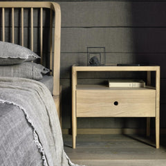 Ethnicraft Oak Spindle Bedside Table in room with Spindle Bed by Nathan Yong
