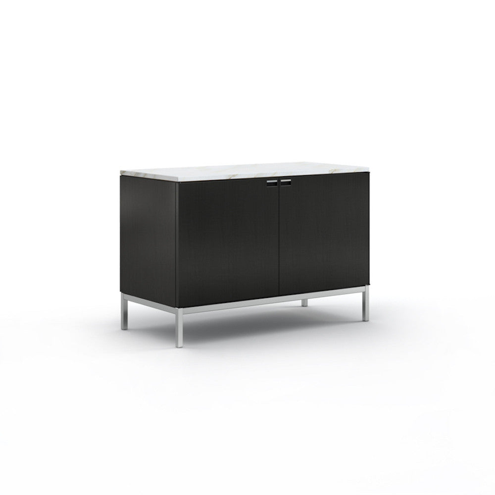 Florence Knoll 2 Position Credenza Ebonized Oak with Satin Coated Carrara Marble Top