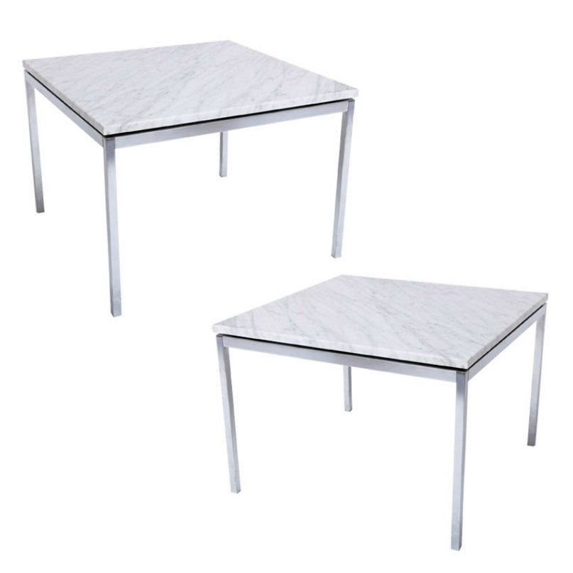 Florence Knoll Side Tables Carrara Marble And Polished Chrome
