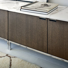 Florence Knoll Credenza Marble Top Closeup in Situ