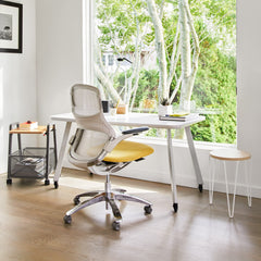 Florence Knoll Hairpin Stacking table in home office with Generation Chair