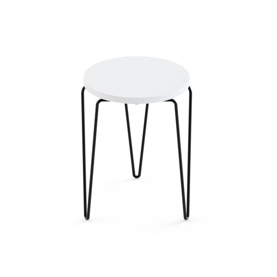 Florence Knoll Hairpin Stacking Table White Top Black Base
