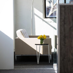 Florence Knoll Hairpin Stacking Table in Situ with Yellow Tulips