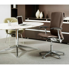 Florence Knoll Oval Table Desk in Calacatta Marble in Executive Office with Life Chair