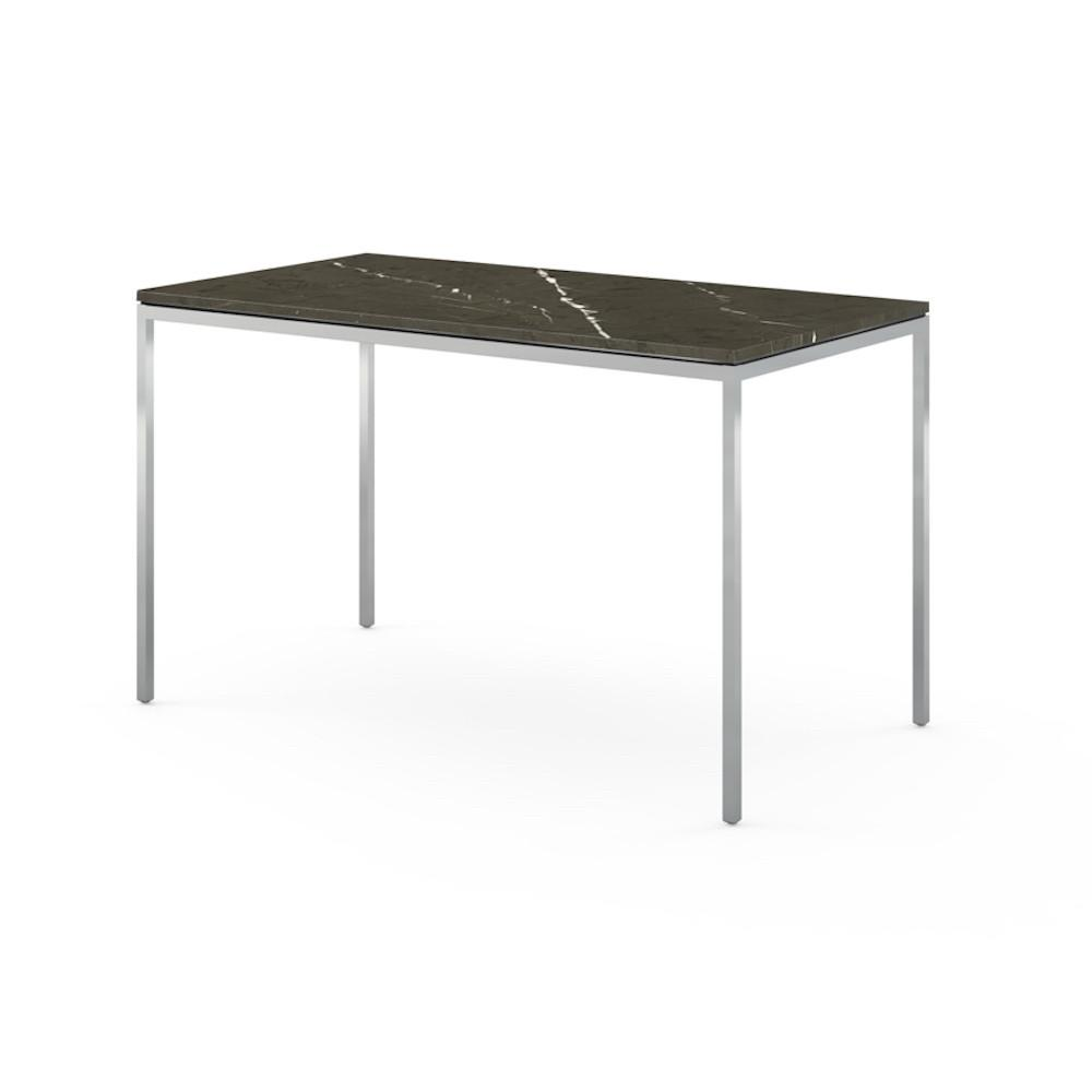 Florence Knoll Mini Desk in Grigio Marquina Marble with Chrome Base
