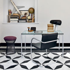 Florence Knoll Mini Desk in Room with BRNO Chair and Platner Stool