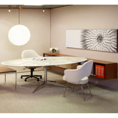 Florence Knoll Carrara Marble Oval Desk in Office with white Saarinen Executive Chairs