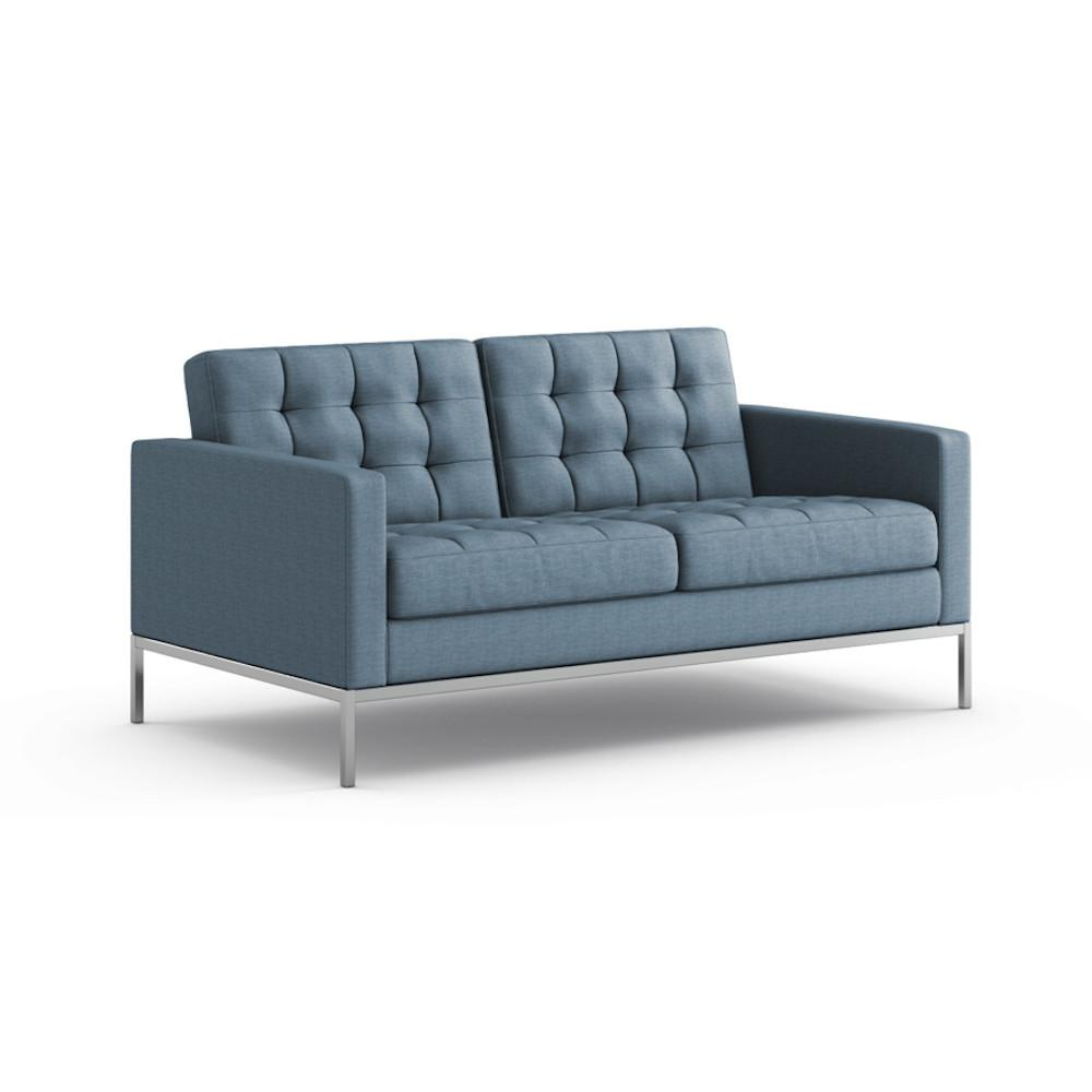 Florence Knoll Relaxed Settee in Summit Skyline