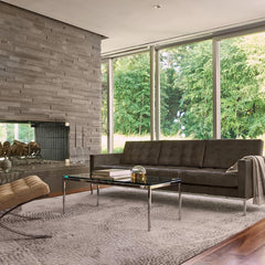 Florence Knoll Relaxed Sofa in Living Room with Florence Knoll Coffee Table and Suede Barcelona Chair