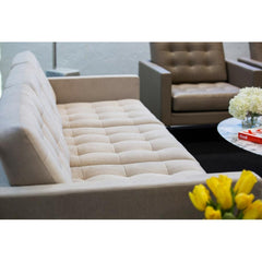 Florence Knoll Relaxed Sofa in room with Tulips