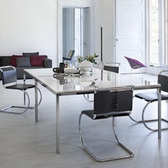 Florence Knoll Square Dining Tables in Room with Mies van der Rohe MR Chairs