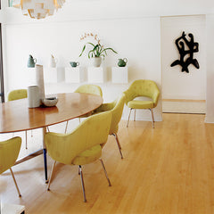 Florence Knoll Oval Conference Table in Natural Oak with Saarinen Executive Office Chairs