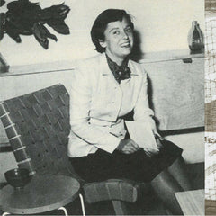 Florence Knoll in Risom Chair with her hairpin-stacking-table
