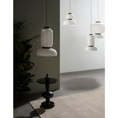 And Tradition Formakami Pendant Lights in room with Shuffle Side Table