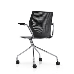 MultiGeneration by Knoll Hybrid Base Fixed Arms Onyx Chrome Base Backside View Formway