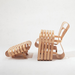 Gehry Power Play Club Chair and Ottoman Side View by Frank Gehry for Knoll
