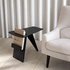 Fredericia Jens Risom Magazine Table in room with Risom A-Chair