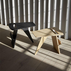 Fredericia Jens Risom Magazine Tables Natural Oak and Black Lacquered Oak