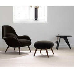 Fredericia Risom Magazine table in room with Swoon lounge chair and ottoman
