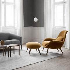 Fredericia Space Copenhagen Swoon Lounge Chair and Ottoman in Grand Mohair in living room