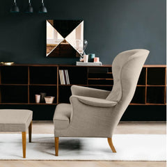 FH410 Heritage Chair and Ottoman Taupe Wool in living room Carl Hansen and Son