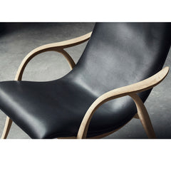 Frits Henningsen Signature Chair Black Leather Oak Frame Detail Carl Hansen and Son