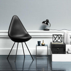 Fritz Hansen Arne Jacobsen Drop Chair Black Leather in Room