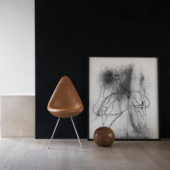 Fritz Hansen Arne Jacbosen Drop Chair in Grace Leather Walnut styled in room