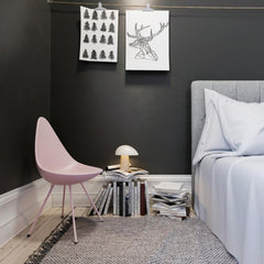 Fritz Hansen Arne Jacobsen Drop Chair Millenial Pink in Bedroom